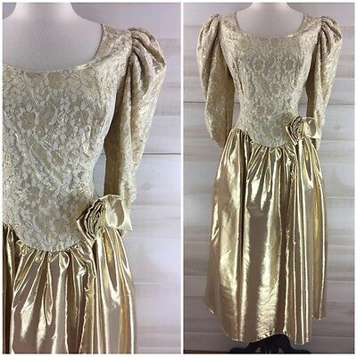 Vintage 80s gold lame lace formal prom party dress metallic L