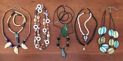 LOT of 8 Shell, Bone, Glass, and Stone Bead Necklaces