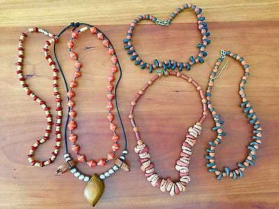 LOT of 6 Clay, Wood, Paper, and Metal Bead Necklaces