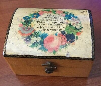Antique Mauchline Ware Wooden Thimble Box With Glass Thimble
