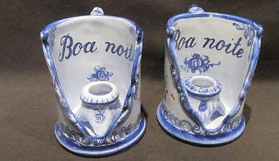 Vestal Portugal #1183 Boa Noite Pair of Blue Majolica Candle Holders