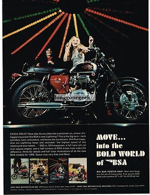 1968 BSA 650cc Lightning Motorcycle Psychedelic Lighting Vtg Print Ad