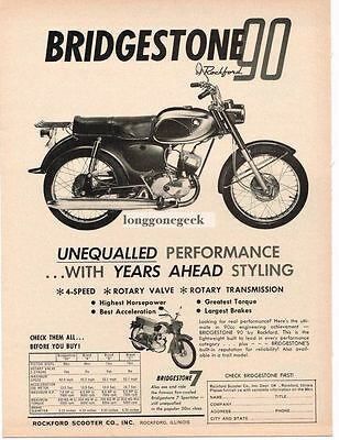 1964 Rockford Scooter Co. Bridgestone 90 Motorcycle Vtg Print Ad
