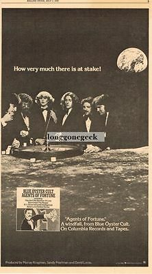 1976 Blue Oyster Cult Agents Of Fortune Vtg Album Promo Print Ad