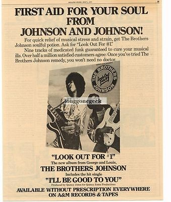1976 The Brothers Johnson Look Out For #1 Vtg Album Promo Print Ad