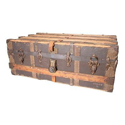 Vintage STEAMER TRUNK ship luggage BROWN chest low coffee table antique storage