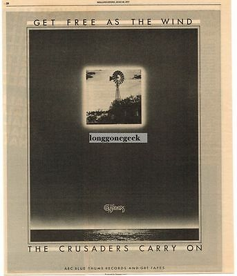 1977 The Crusaders Carry On Vtg Album Promo Print Ad
