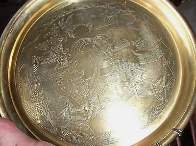 """Vintage Small Solid Brass Deep Plate / Tray Willow Pattern & Wall Hanger 8.5"""""""