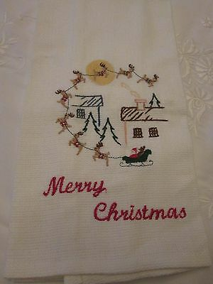 Vintage Hand Show Christmas Towel Woven With Embroidery Santa Sleigh Reindeer