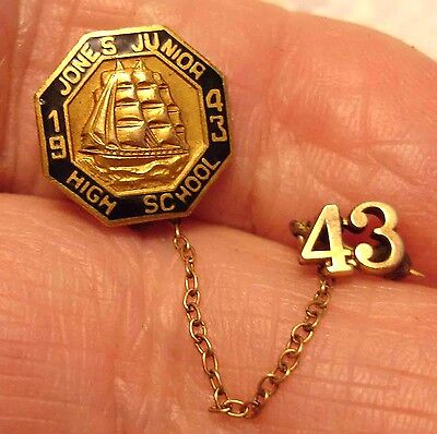 1943 Jones Junior High School Gold Filled Pin with '43 Chain Guard