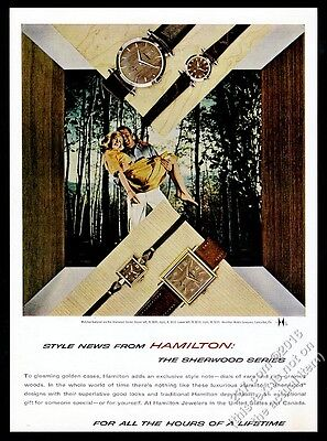 1960 Hamilton Sherwood round and square watch 4 styles photo vintage print ad