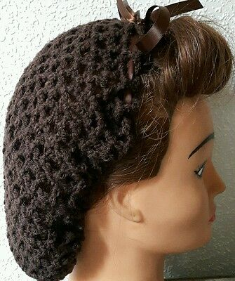 Hair Snood (Chocolate Brown With Brown Ribbon-Handmade-1940's Style)