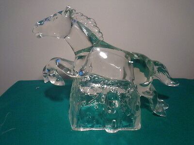 Vintage Large Glass Galloping Horse Candy Container ????