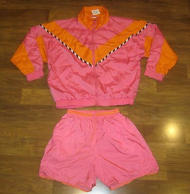 NWT Vtg 80s BODY CO. Pink windbreaker TRACK SUIT New Jacket Shorts neon Set M L