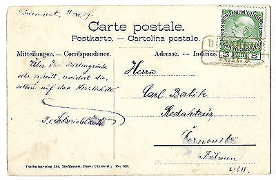 Austria 1909 Duernkrut post office postcard Liechtenstein