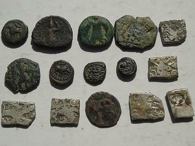 Collection of 15 Indian States Coins, Antique & Ancient Types & Silver, India