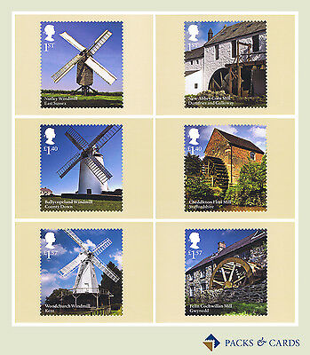 2017 Windmills and Watermills PHQ 430 - Mint Cards (Set of 6 Royal Mail Cards)