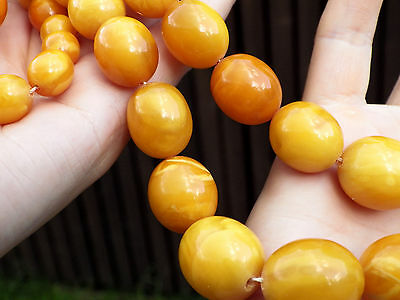 Natural Genuine Baltic Amber BUTTERSCOTCH EGG Yolk Necklace Beads 79 g 老琥珀