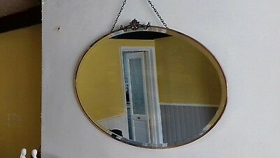Antique Oval Bevelled Copper Rimmed Mirror