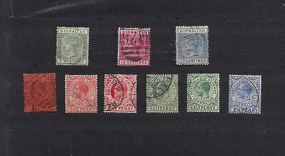 Gibraltar lot of 9 early stamps