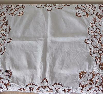 Stunning Vintage Broad Drawn Threadwork, Embroidered Small Linen Tablecloth