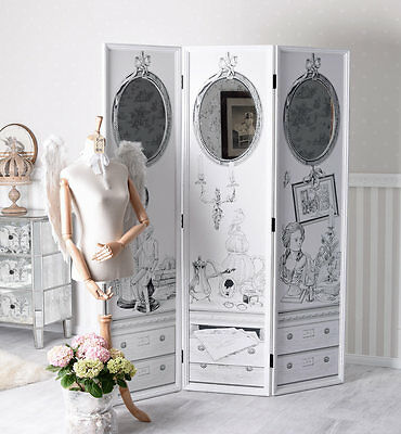 Rococo Folding Screen Vintage Changing Room Spanish Wall Shabby Chic