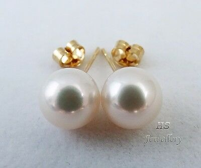 HS Round South Sea Cultured Pearl 10mm 14K Yellow Gold Stud Earrings AAA Grading