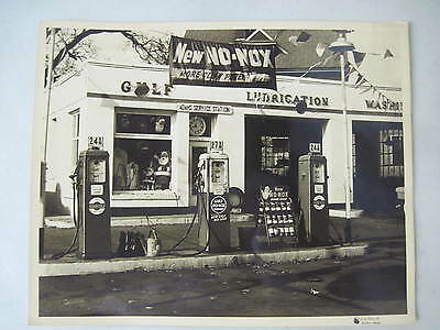 Adams Gulf Service Station With Gas Pumps Christmas Photos 1954 Quincy Mass.