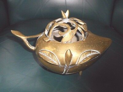 RARE Antique Floral Brass Table Top Bowl Incense Burner Ceremonial Signed China