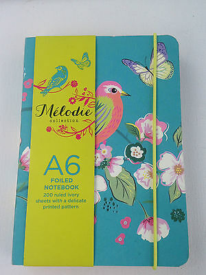 New W H Smith Melodie A6 Foiled Note Book 200 Lined Pages With Printed Pattern