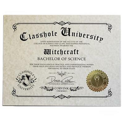 Classhole Diploma - Witchcraft Humor Novelty