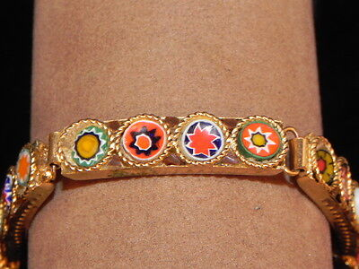 """Vintage Millefiori Floral Murano Glass Inlay Gold Tone Linked 7 3/8"""" Bracelet"""