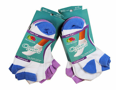 6 Pairs Womens Fruit of the Loom Low Cut Socks Size 4-10 Colors
