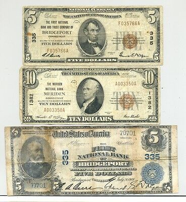 Series 1902/1929 National banknotes from Meriden and Bridgeport, CT