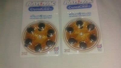 Rayovac Hearing Aid Batteries Size 312 -12 Batteries In 2 Packs Of 6 Good Date