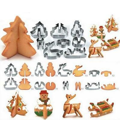 Christmas Set of 8 Metal Cookie Cutters Tree Elk Snowman Candy Cane Biscuit Z