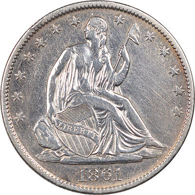 1861-O Liberty Seated Half Dollar. High Grade, Cleaned.