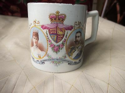 Antique Mug Coronation Crowned 1911 King George V Queen Mary Dragon Reverse