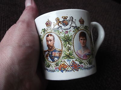 Antique Small Gilded Mug June 1911 King George V Queen Mary Crowned