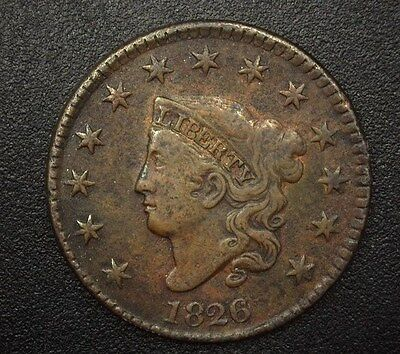 1826 Coronet Head Large Cent  Vf+