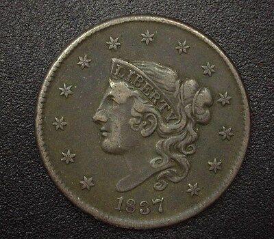 1837 Coronet Head Large Cent  Xf