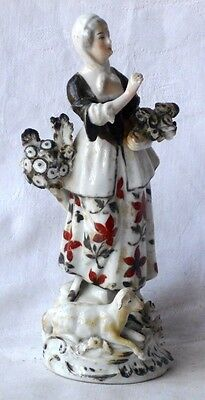 C19Th Sitzendorf Figure Of A Lady Flower Seller With A Lamb