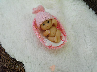 OOAK   miniature sculpt 4 cm polymer clay  tiny  Baby  doll  & cirb by Carol