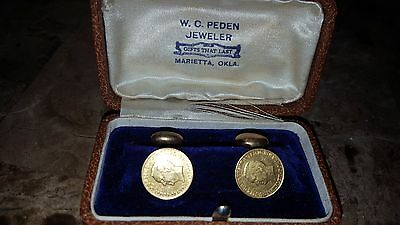 1917 McKinley Gold Birthplace Dollar made into cuff links super rare coins