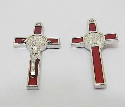 50X Enamel Red Cross Pendant Jewellery Finding 3.8x2x0.5cm