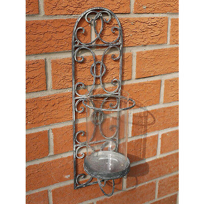 Shabby Vintage Chic wall mounted Metal wall sconce candle lantern holder decor