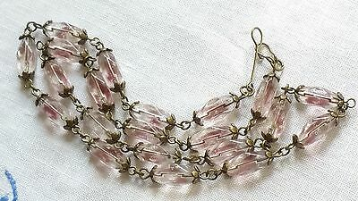 Czech Bi-Coloured Purple And Clear Glass Bead Necklace Vintage Deco Style