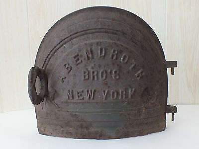 Antique Abendroth Bro's Pot Belly Stove Door - Cast Iron - New York