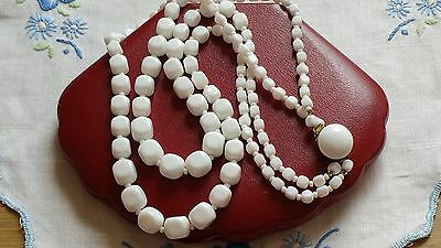 Czech Vintage 2 Rows Graduated Cube Glass Bead Necklace