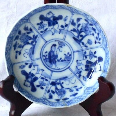 C18Th Chinese Blue And White Dish With Flowers And Figures Within A Border